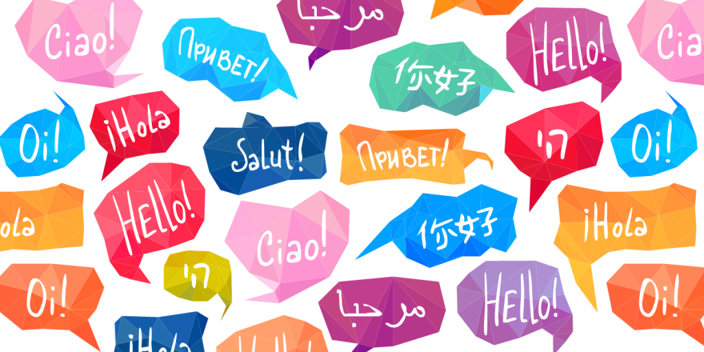 L'immagine mostra fumetti di diversi colori, ciascuno dei quali contiene saluti nelle diverse lingue del mondo.